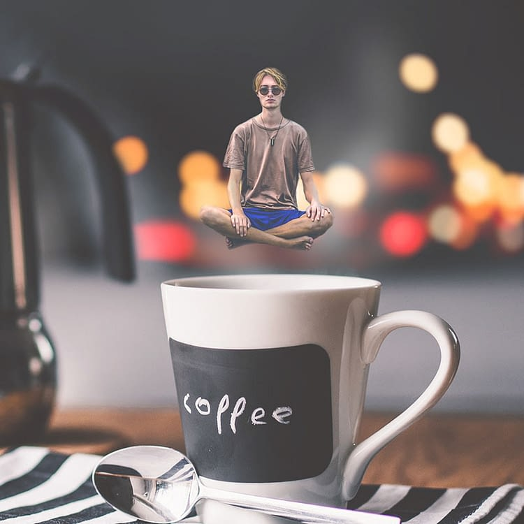 coffee meditation created using photo manipulation